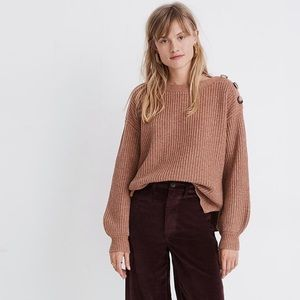 Madewell Boatneck Button-Shoulder Sweater Sz XS